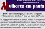 Capa do Boletim Mulheres Em Pauta nº 85 (SPM-PR, 13 a 31/07/2012)