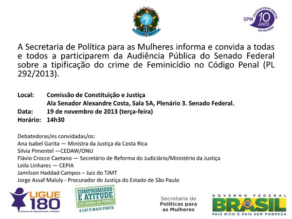 Convite SPM-PR audiência sobre feminicídio CCJ Senado