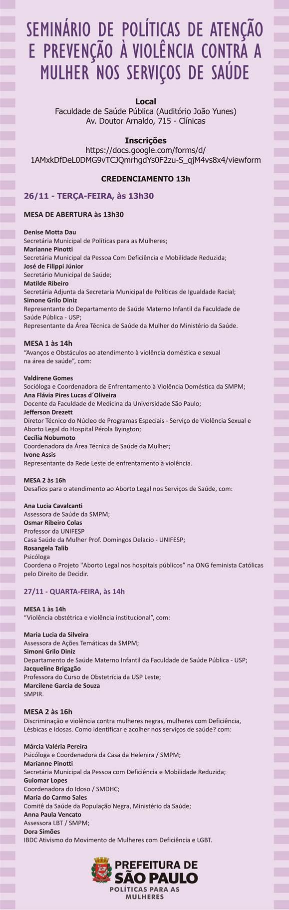 Seminário de Políticas de Atenção e Prevenção à Violência contra a Mulher na Saúde - Secretaria Municipal de Políticas para as Mulheres de SP
