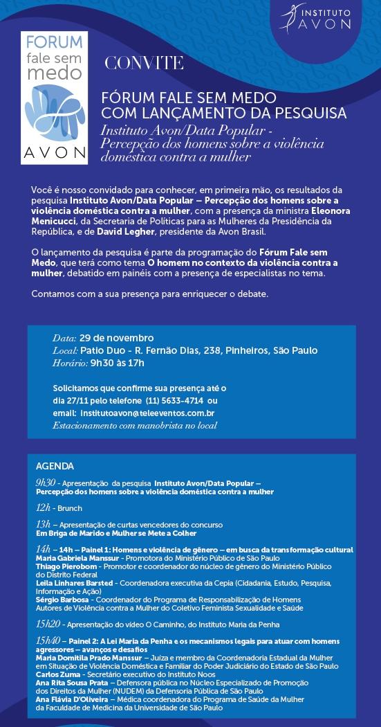 Convite Fórum Fale sem Medo - Instituto Avon - SP, 29/11/2013