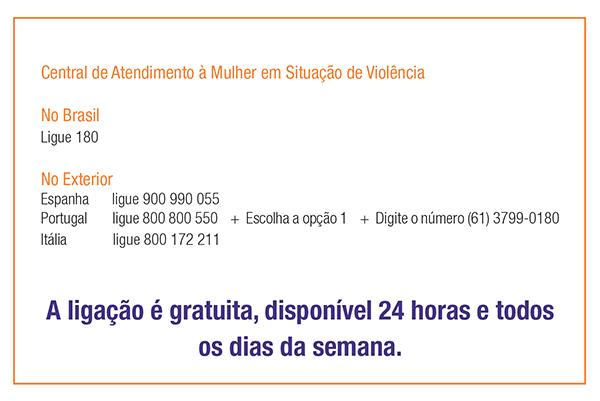 Contas do Ligue 180 no Brasil e no exterior