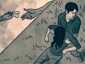 Reconstituição do crime: Guilherme tira Daniella do carro e a leva para o matagal (Foto: Arte/iG)
