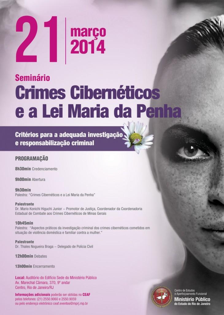 Cartaz Seminário Crimes Cibernéticos e a Lei Maria da Penha (MPRJ, 21/03/2014)