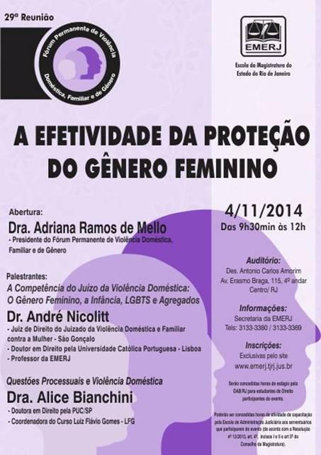 """Emerj Seminário """"A efetividade da proteção de gênero feminino"""""""