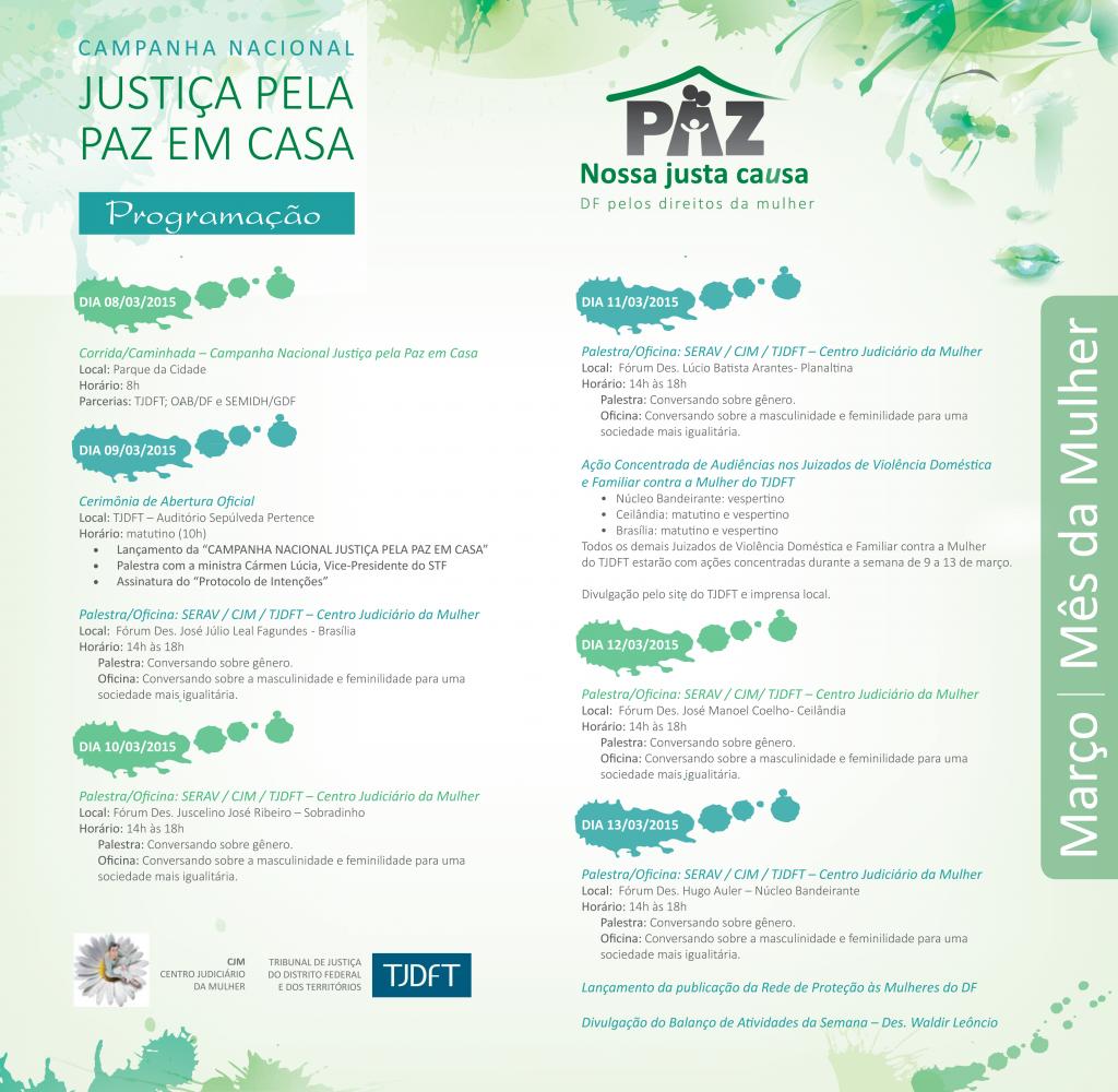 Programacao Campanha Nacional Justica pela Paz em Casa
