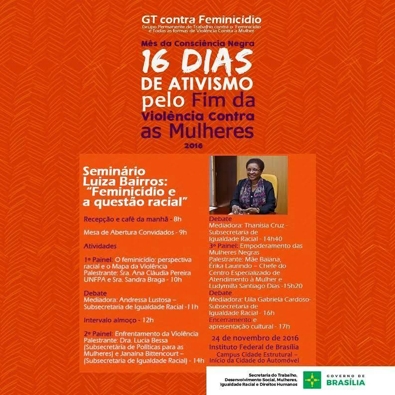 Seminario Luiza Bairros Feminicidio_gov Distrito Federal