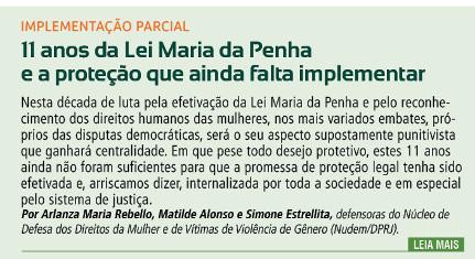 11 anos da Lei Maria da Penha e a proteção que ainda falta implementar