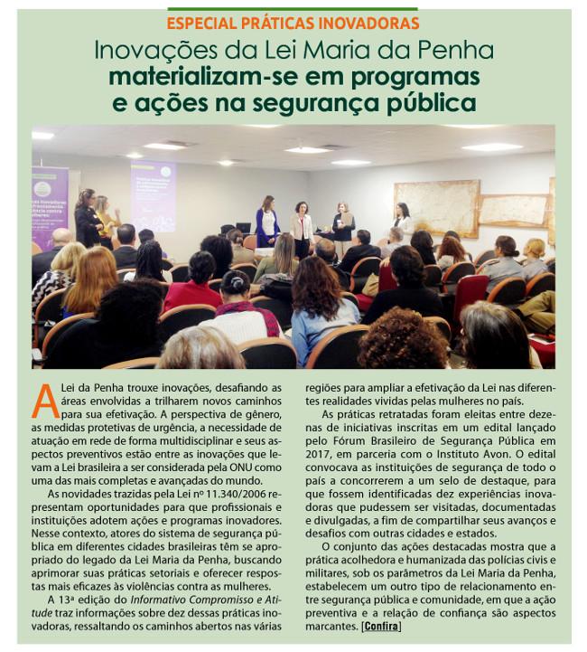 Inovações da Lei Maria da Pena materializam-se em programas e ações de segurança pública