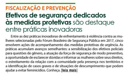 Efetivos de segurança dedicados às medidas protetivas são destaque entre práticas inovadoras