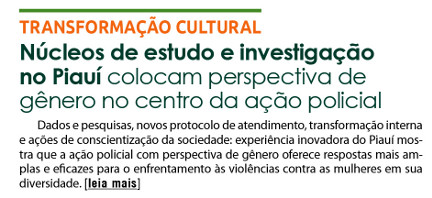 Núcleos de estudo e investigação no Piauí colocam perspectiva de gênero no centro da ação policial
